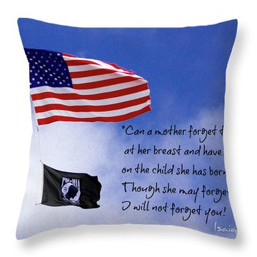 Throw Pillow featuring the photograph I Will Not Forget You American Flag Pow Mia Flag Art by Reid Callaway
