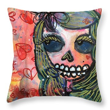 Throw Pillow featuring the painting I Would Like You To Love Me by Laurie Maves ART