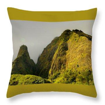 Iao Needle And Mountain Throw Pillow