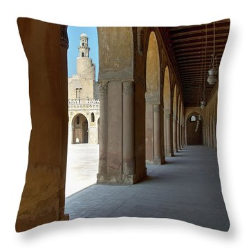 Ibn Tulun Great Mosque Throw Pillow by Nigel Fletcher-Jones