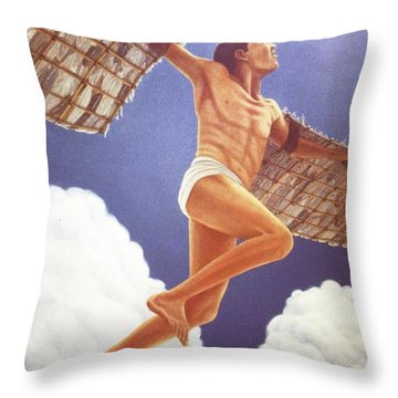 Icarus Ascending Throw Pillow by Laurie Stewart