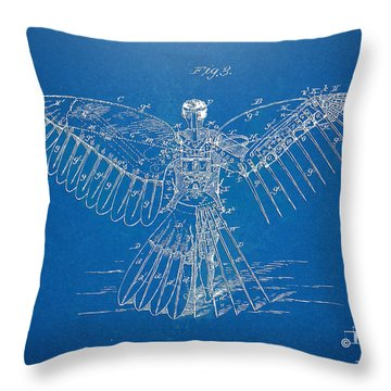 Icarus Human Flight Patent Artwork Throw Pillow by Nikki Marie Smith