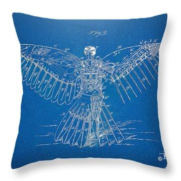 Icarus Human Flight Patent Artwork Throw Pillow by Nikki Marie Smith