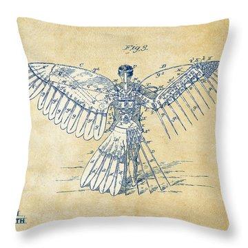 Icarus Human Flight Patent Artwork - Vintage Throw Pillow