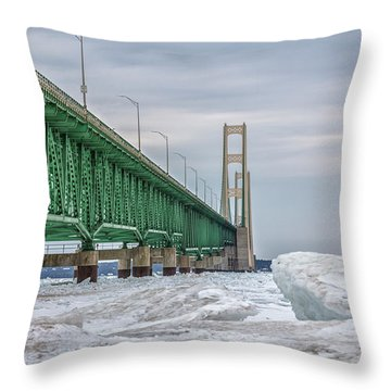 Throw Pillow featuring the photograph Ice And Mackinac Bridge  by John McGraw