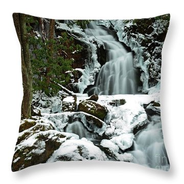 Ice And Snow, Mouse Creek Falls, Great Smoky Mountain National Park Throw Pillow