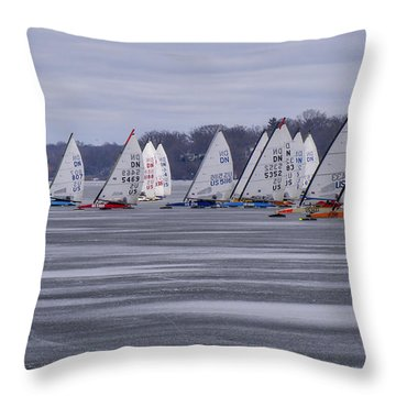 Ice Boat Racing - Madison - Wisconsin Throw Pillow
