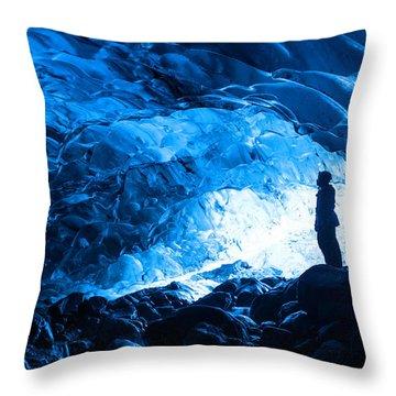 Ice Cave Explorer Throw Pillow