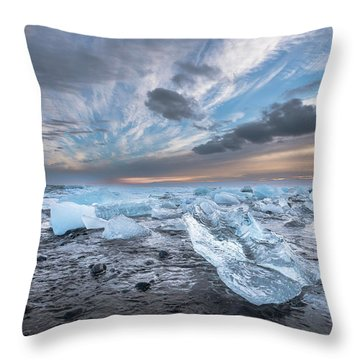Ice Chunks Sunset 2 Throw Pillow