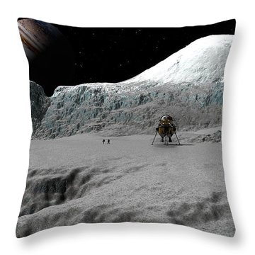 Ice Cliffs Of Europa Throw Pillow