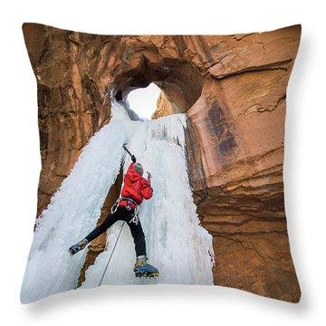 Ice Climber Throw Pillow