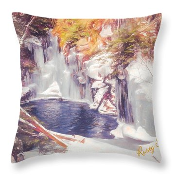 Ice Cold View Of Sages Ravine. Northwest Connecticut Throw Pillow