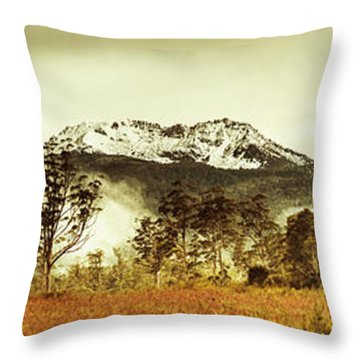Ice Covered Mountain Panorama In Tasmania Throw Pillow