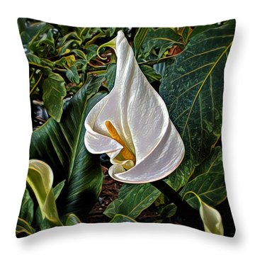 Throw Pillow featuring the digital art Ice Cream Calla Lily by Pennie  McCracken