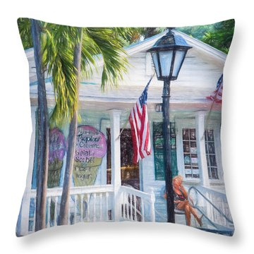 Ice Cream In Key West Throw Pillow by Linda Olsen