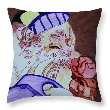 Ice Cream Kitty Throw Pillow by Connie Valasco