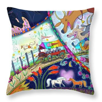 Throw Pillow featuring the digital art Ice Cream Pony by Marti McGinnis