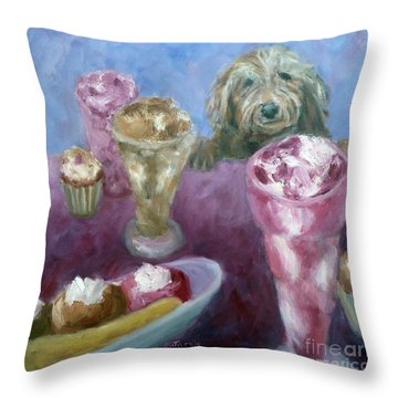 Ice Cream With Dog Throw Pillow
