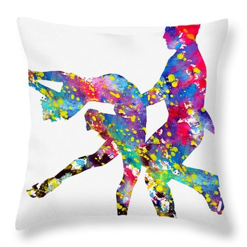 Ice Dancer-colorful Throw Pillow