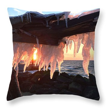 Ice Fangs Throw Pillow