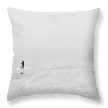 Ice Fishermen Throw Pillow
