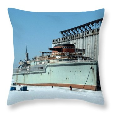 Ice Fishing On Lake Erie Throw Pillow by Ely Arsha