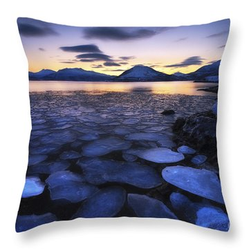 Ice Flakes Drifting Against The Sunset Throw Pillow by Arild Heitmann