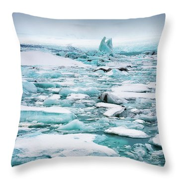 Throw Pillow featuring the photograph Ice Galore In The Jokulsarlon Glacier Lagoon Iceland by Matthias Hauser
