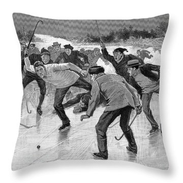 Ice Hockey, 1898 Throw Pillow by Granger
