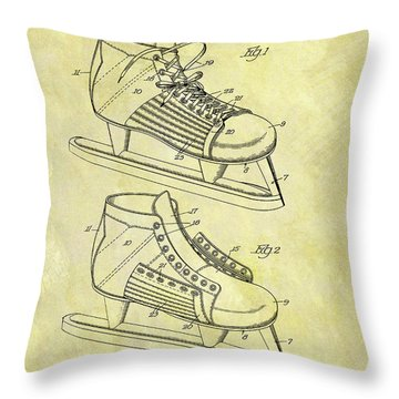 Ice Hockey Skates Patent Image Throw Pillow