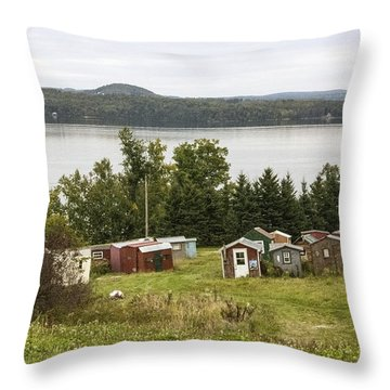 Ice Houses In Vermont Throw Pillow