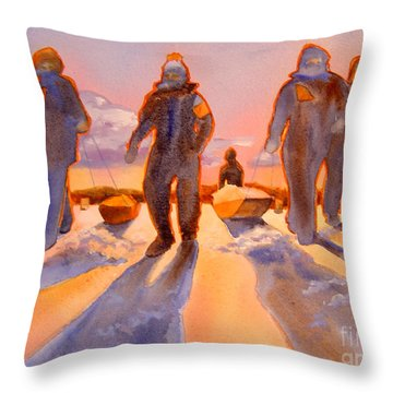 Ice Men Come Home Throw Pillow by Kathy Braud