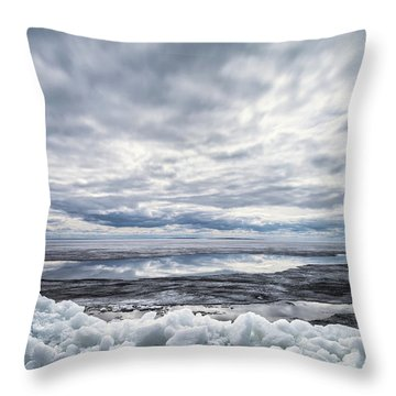 Ice On Lake Nipissing Throw Pillow by Brian Boudreau