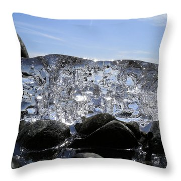 Throw Pillow featuring the photograph Ice On Rocks 3 by Sami Tiainen