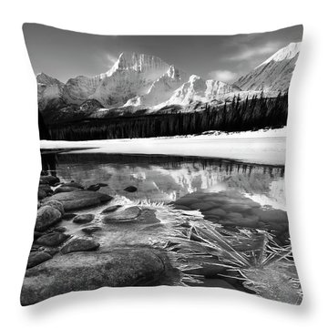 Ice On The Athabasca Throw Pillow by Dan Jurak