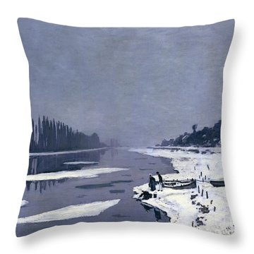 Ice On The Seine At Bougival Throw Pillow by Claude Monet
