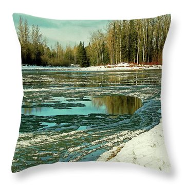 Ice On The Telkwa River Throw Pillow