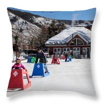 Ice Rink In Downtown Aspen Throw Pillow