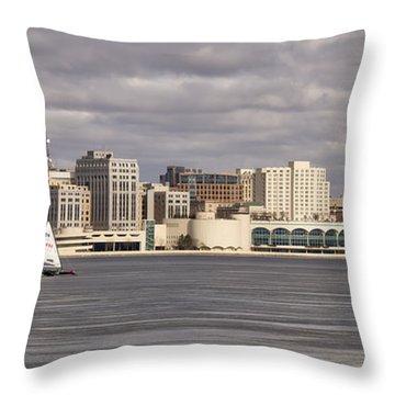 Ice Sailing - Lake Monona - Madison - Wisconsin Throw Pillow