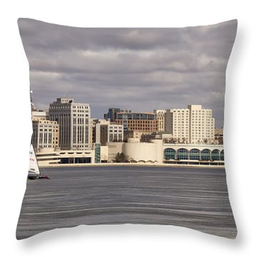 Ice Sailing - Lake Monona - Madison - Wisconsin Throw Pillow