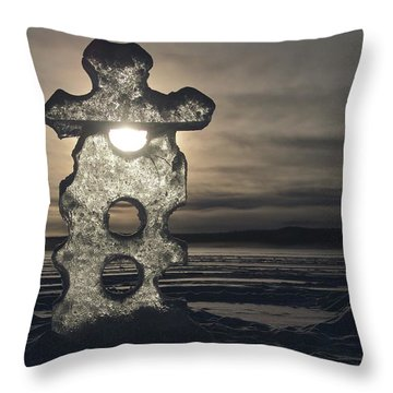 Throw Pillow featuring the photograph Ice Sculpter by Scott Holmes