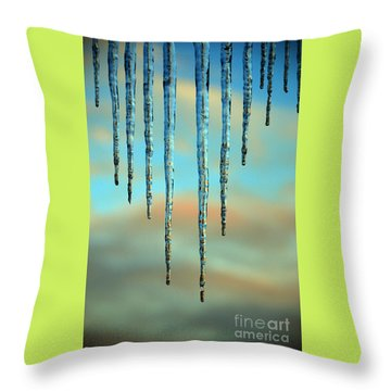 Throw Pillow featuring the photograph Ice Sickles - Winter In Switzerland  by Susanne Van Hulst
