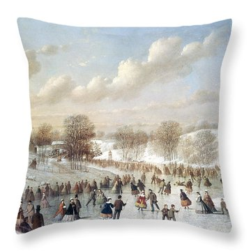 Ice Skating, 1865 Throw Pillow by Granger