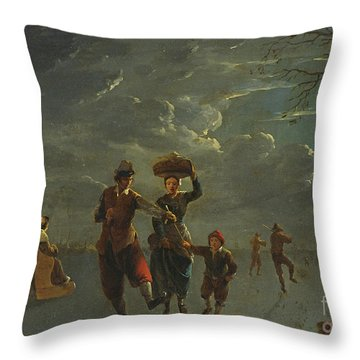 Ice Skating By Moonlight  Throw Pillow
