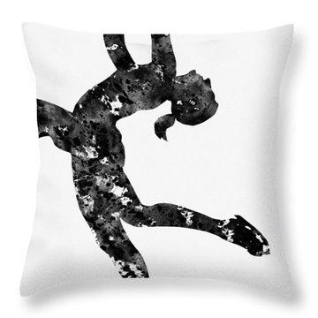 Ice Skating Girl-black Throw Pillow