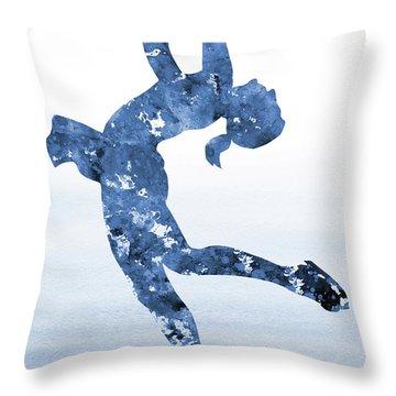 Ice Skating Girl-blue Throw Pillow