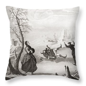 Ice Skating In The 18th Century. From Throw Pillow
