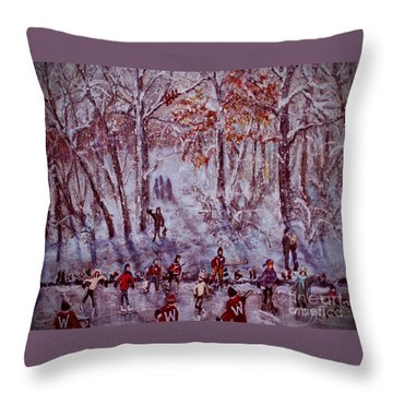Ice Skating On Hardy Pond Throw Pillow