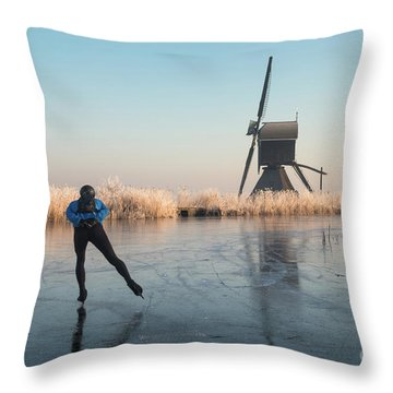 Ice Skating Past Frosted Reeds And A Windmill Throw Pillow