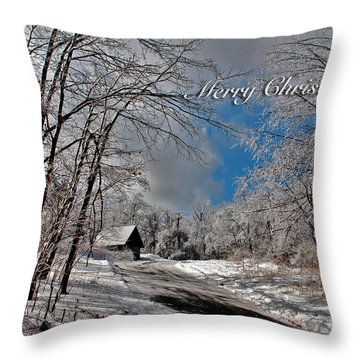 Ice Storm Christmas Card Throw Pillow by Lois Bryan